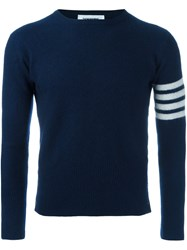 Thom Browne Ribbed Striped Sleeve Jumper Blue