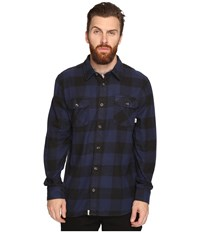 Vans Hixon Light Flannel Shirt Dress Blues Black Men's Long Sleeve Button Up