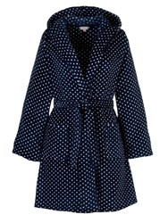 John Lewis Spot Hooded Robe Blue White