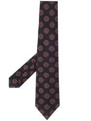 Kiton All Over Motif Tie Blue