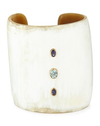 Ashley Pittman Mid Size Light Horn 3 Stone Cuff Bracelet