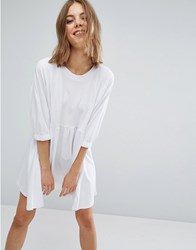 Asos Cotton Smock Dress With Elastic Cuff Detail White