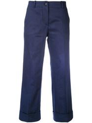 Alberto Biani Cropped Trousers Women Cotton 44 Blue