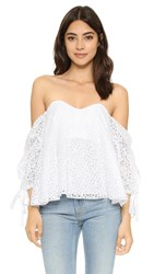Caroline Constas Gabriella Lace Off Shoulder Top White