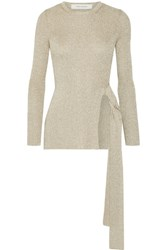 Cedric Charlier Metallic Ribbed Knit Sweater Beige