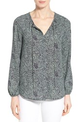 Gibson Women's Tie Neck Peasant Blouse Navy Green Paisley
