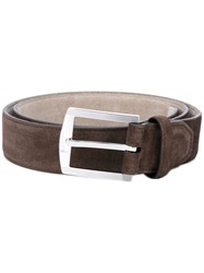Kiton Silver Buckle Belt Men Leather Metal 100 Brown