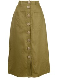 Nicholas Stitched Panel Skirt Green