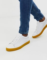 Selected Homme Leather Trainers With Contrast Yellow Sole White
