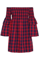 W118 By Walter Baker Off The Shoulder Smocked Gingham Cotton Mini Dress Red