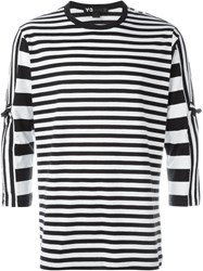 Y 3 Three Quarter Sleeve Striped T Shirt Black