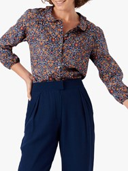 Brora Liberty Floral Print Silk Shirt Navy Woodland