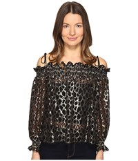 Just Cavalli Off The Shoulder Printed Long Sleeve Top Gold