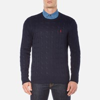 Polo Ralph Lauren Men's Crew Neck Cable Knitted Jumper Hunter Navy Blue
