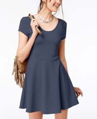 Planet Gold Juniors' Cap Sleeve Textured Fit And Flare Dress Vintage Indigo