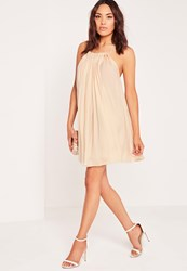 Missguided Pleated Halter Neck Swing Dress Nude Beige