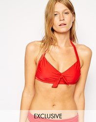 French Connection Exclusive To Asos Nancy Knot Halter Bikini Top Red