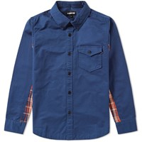 Undefeated Plaid Panel Shirt Blue