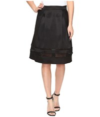 Ivanka Trump Fit And Flare Skirt With Lazer Cut Out Bottom Black Women's Skirt