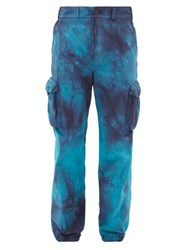 Off White Tie Dyed Ripstop Cargo Trousers Blue