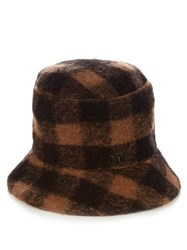 Maison Michel Matthew The Potters Check Wool Hat Beige Multi