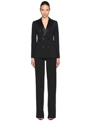 Dsquared Stretch Wool Blend Tuxedo Suit Black