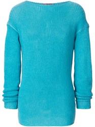 Ermanno Scervino Round Neck Knit Jumper Cashmere Blue