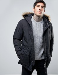 Farah Hooded Parka Detachable Faux Fur Trim In Black Black