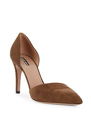 Giorgio Armani Point Toe Leather D'orsay Pumps Brown
