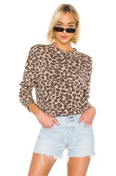Monrow Leopard Seamed Sweatshirt Brown