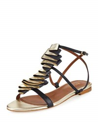 Malone Souliers Audrey Ribbon Leather Flat Sandal Navy