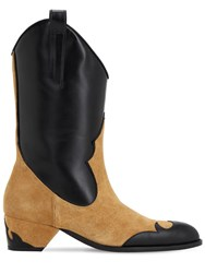 Manu Atelier 45Mm Suede And Leather Cowboy Boots Brown