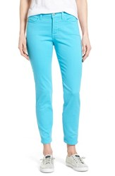 Petite Women's Nydj 'Clarissa' Colored Stretch Skinny Ankle Jeans Blue Wave