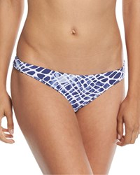 Letarte Printed Hipster Moderate Coverage Swim Bikini Bottom Blue