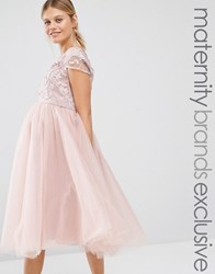 Chi Chi Maternity London Applique Bodice Dress With Tulle Skirt Pink
