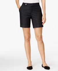 Styleandco. Style And Co. Petite Tummy Control Dark Chambray Denim Shorts Only At Macy's