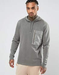 Asos Hoodie With Woven Chest Pocket And Gold Zip Weed Green