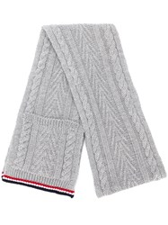 Thom Browne Grey Cable Pocket Scarf