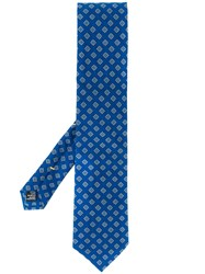 Canali Geometric Patterned Tie Blue