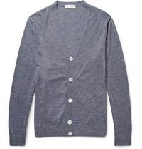 Gieves And Hawkes Cashmere Wool And Silk Blend Cardigan Gray
