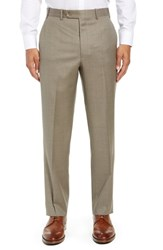 John W. Nordstrom Torino Traditional Fit Flat Front Solid Wool Trousers Tan