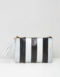 Urbancode Leather Clutch Bag In Metallic Faux Snake Mix Black Silver Snake