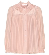 See By Chloe Ruffled Cotton Blend Blouse Pink