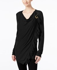 Inc International Concepts Petite Ruffled Draped Sweater Only At Macy's Deep Black