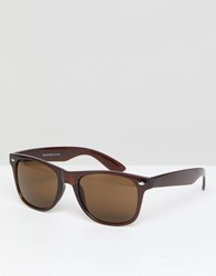 Selected Homme Square Sunglasses Comb4 Demitasse Brown