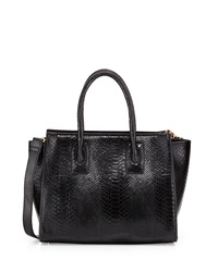 Neiman Marcus Harper Snake Embossed Wing Satchel Bag Black