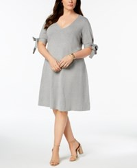 525 America Plus Size Tie Sleeve Fit And Flare Dress Heather Grey