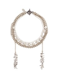 Venna Glass Crystal Faux Pearl Multi Chain Necklace Metallic