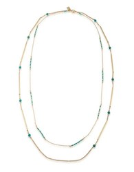 Lauren Ralph Lauren Dream Weaver Turquoise And 10K Gold Plated Two Row Rope Necklace Multi