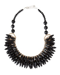 Nakamol Crystal Porcupine Bib Necklace Black